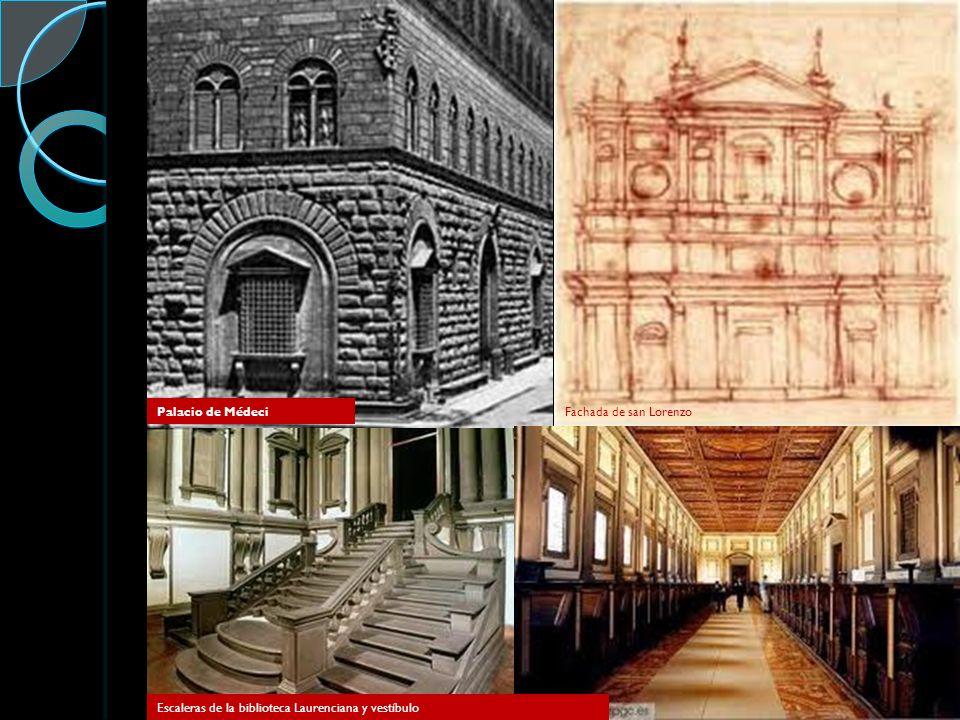 Palacio de MédeciFachada de san Lorenzo Escaleras de la biblioteca Laurenciana y vestíbulo