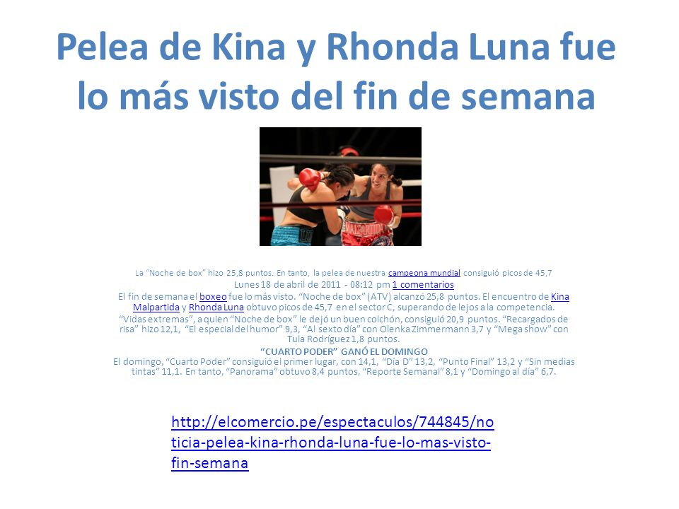 Pelea de Kina y Rhonda Luna fue lo más visto del fin de semana La Noche de box hizo 25,8 puntos.