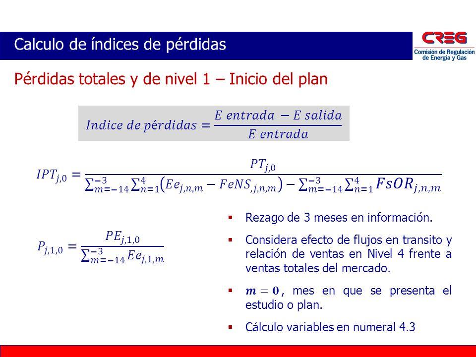 Calculo de índices de pérdidas Pérdidas totales y de nivel 1 – Inicio del plan