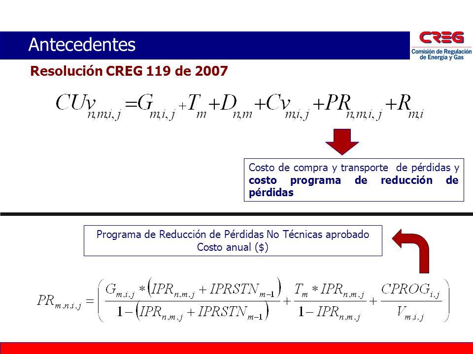 Antecedentes Resolución CREG 121 de 2007 Asignación de las Pérdidas No Técnicas entre los Comercializadores Minoristas de un mismo mercado a prorrata de las ventas de energía: La metodología para la determinación de los valores de PRT mer y PRTE mer será definida en resolución independiente.