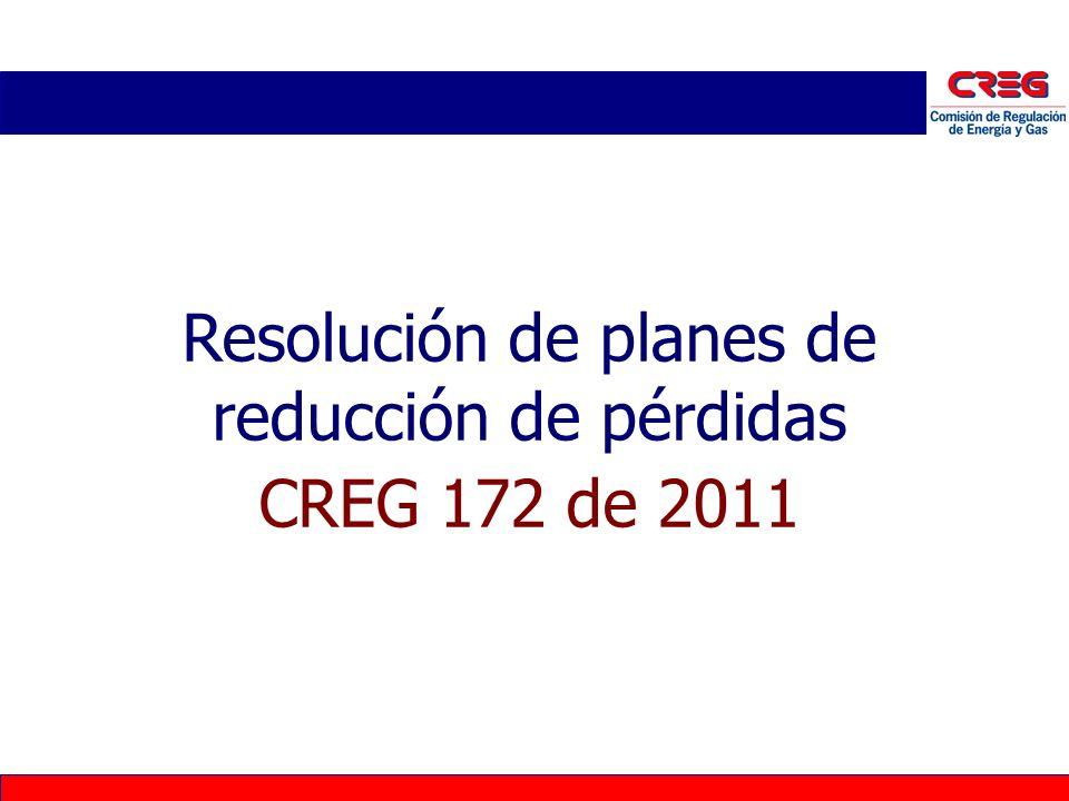 Modificación Resolución CREG 119 de 2007 Índices de pérdidas reconocidas Los índices de pérdidas a aplicar a los usuarios regulados son: Pérdidas STR y SDL - IPR n,m,j : Para N4, N3 y N2 son los valores aprobados en la resolución particular de cargos de distribución.