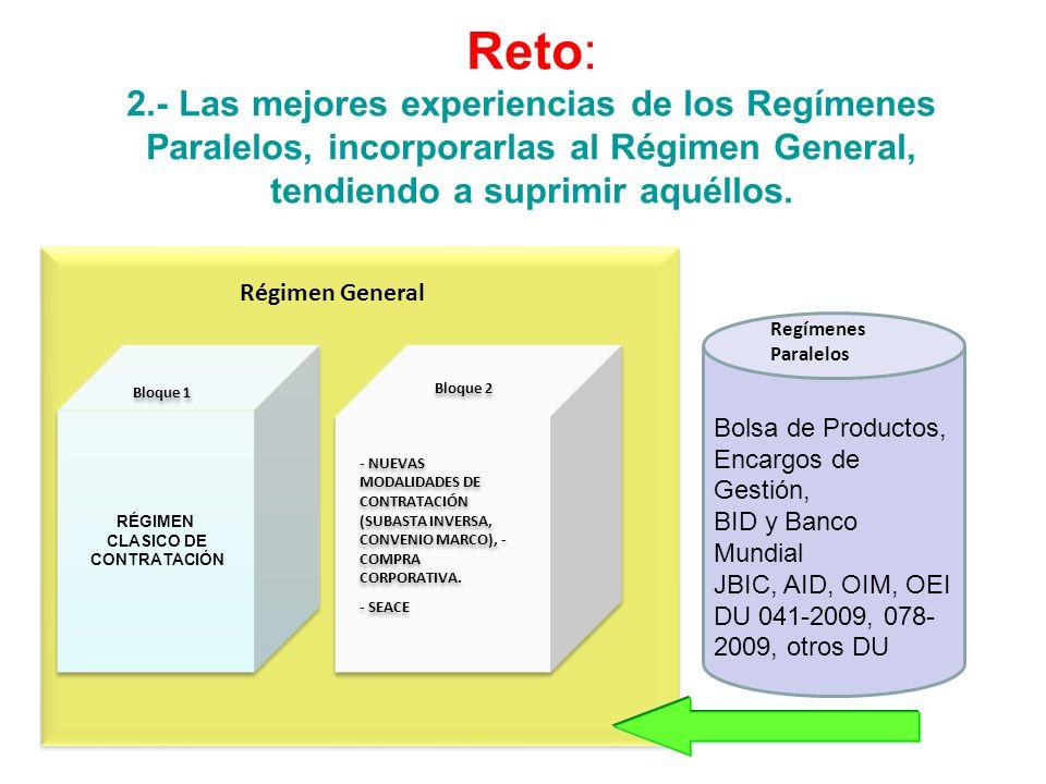 Reto: 2.- Las mejores experiencias de los Regímenes Paralelos, incorporarlas al Régimen General, tendiendo a suprimir aquéllos. RÉGIMEN CLASICO DE CON
