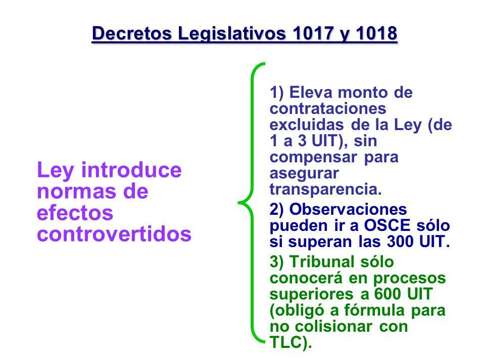 Decretos Legislativos 1017 y 1018 Ley introduce normas de efectos controvertidos 1) Eleva monto de contrataciones excluidas de la Ley (de 1 a 3 UIT),