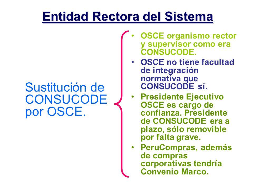 Entidad Rectora del Sistema Sustitución de CONSUCODE por OSCE. OSCE organismo rector y supervisor como era CONSUCODE. OSCE no tiene facultad de integr
