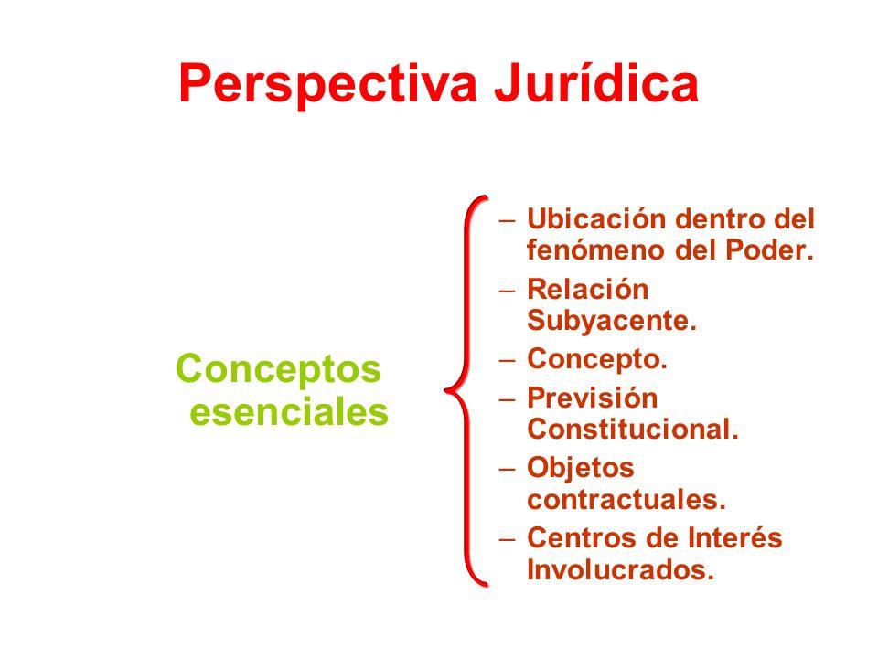 Perspectiva Jurídica Conceptos esenciales –Ubicación dentro del fenómeno del Poder. –Relación Subyacente. –Concepto. –Previsión Constitucional. –Objet