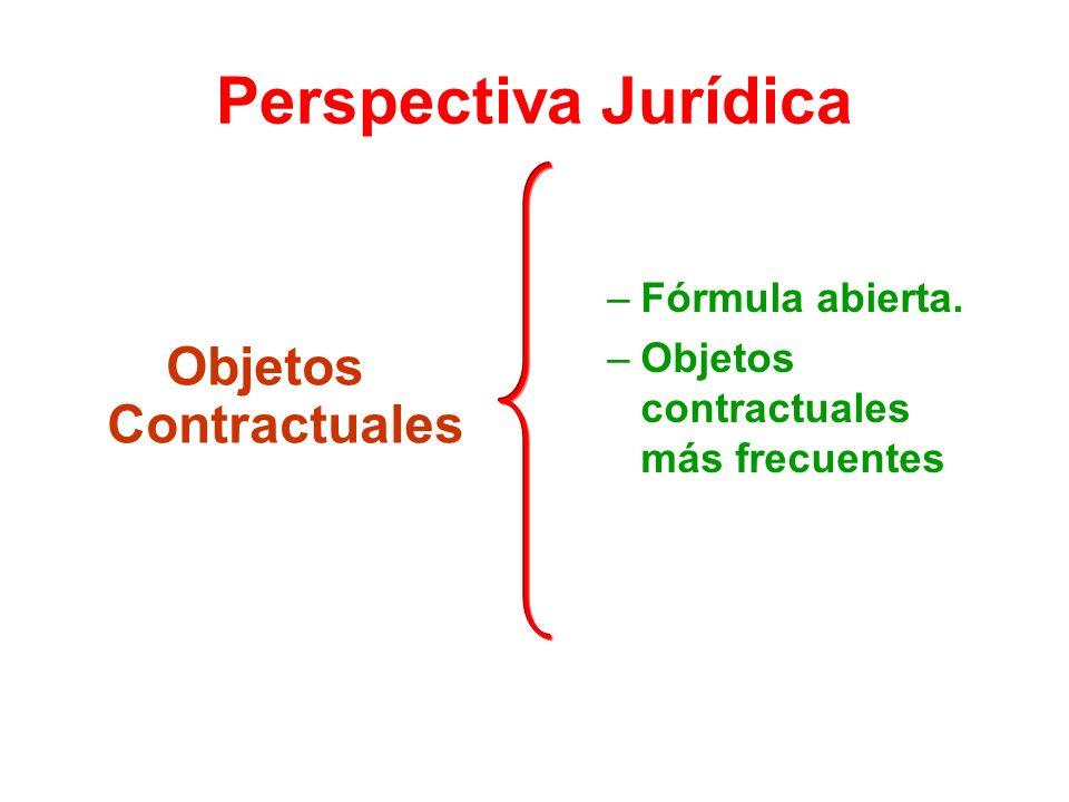 Perspectiva Jurídica Objetos Contractuales –Fórmula abierta. –Objetos contractuales más frecuentes