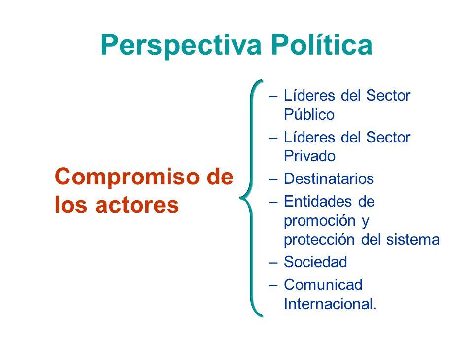 Perspectiva Política Compromiso de los actores –Líderes del Sector Público –Líderes del Sector Privado –Destinatarios –Entidades de promoción y protec