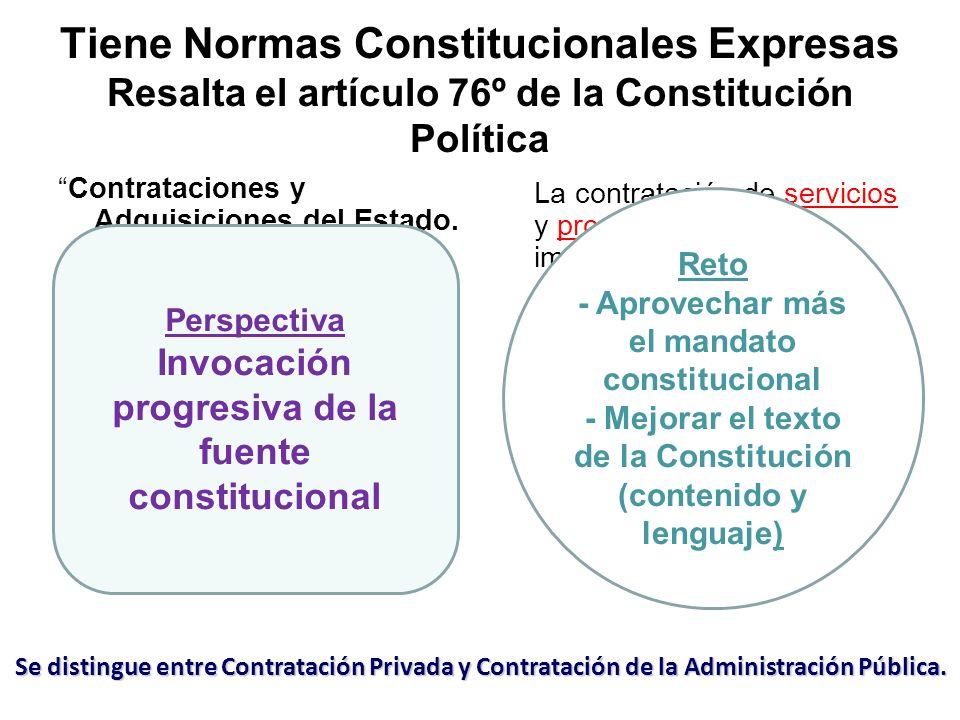 Tiene Normas Constitucionales Expresas Resalta el artículo 76º de la Constitución Política Contrataciones y Adquisiciones del Estado. Las obras y la a