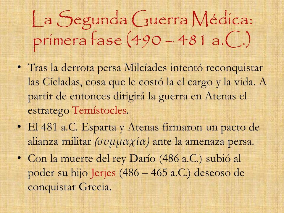 La Segunda Guerra Médica: primera fase (490 – 481 a.C.) Tras la derrota persa Milcíades intentó reconquistar las Cícladas, cosa que le costó la el car