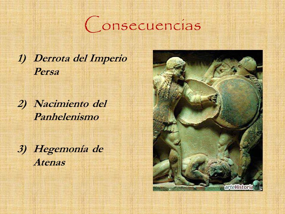 Consecuencias 1)Derrota del Imperio Persa 2)Nacimiento del Panhelenismo 3)Hegemonía de Atenas