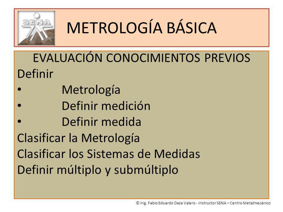 METROLOGÍA BÁSICA EVALUACIÓN CONOCIMIENTOS PREVIOS Definir Metrología Definir medición Definir medida Clasificar la Metrología Clasificar los Sistemas