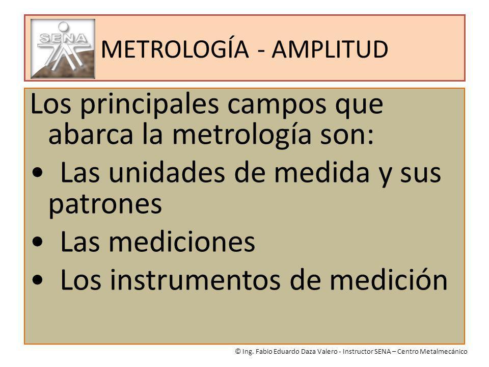 METROLOGÍA - AMPLITUD Los principales campos que abarca la metrología son: Las unidades de medida y sus patrones Las mediciones Los instrumentos de me