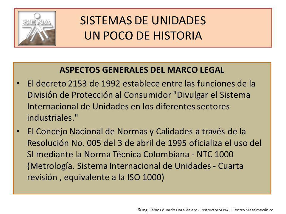 SISTEMAS DE UNIDADES UN POCO DE HISTORIA ASPECTOS GENERALES DEL MARCO LEGAL El decreto 2153 de 1992 establece entre las funciones de la División de Pr