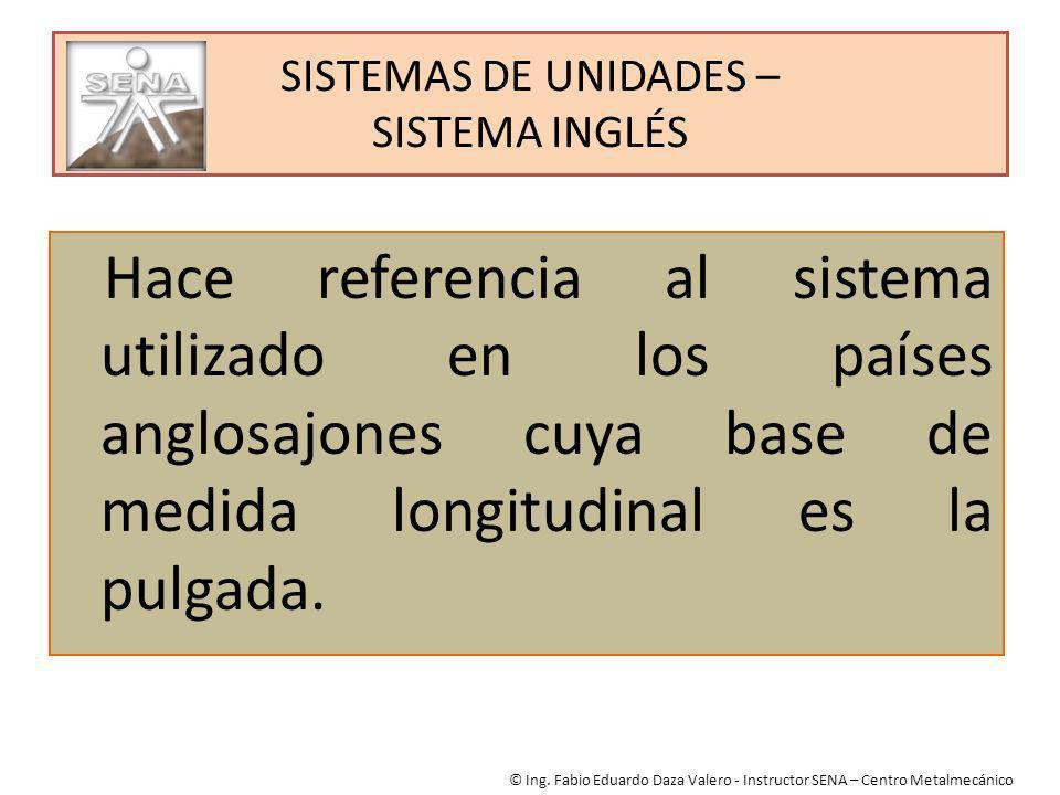 SISTEMAS DE UNIDADES – SISTEMA INGLÉS Hace referencia al sistema utilizado en los países anglosajones cuya base de medida longitudinal es la pulgada.