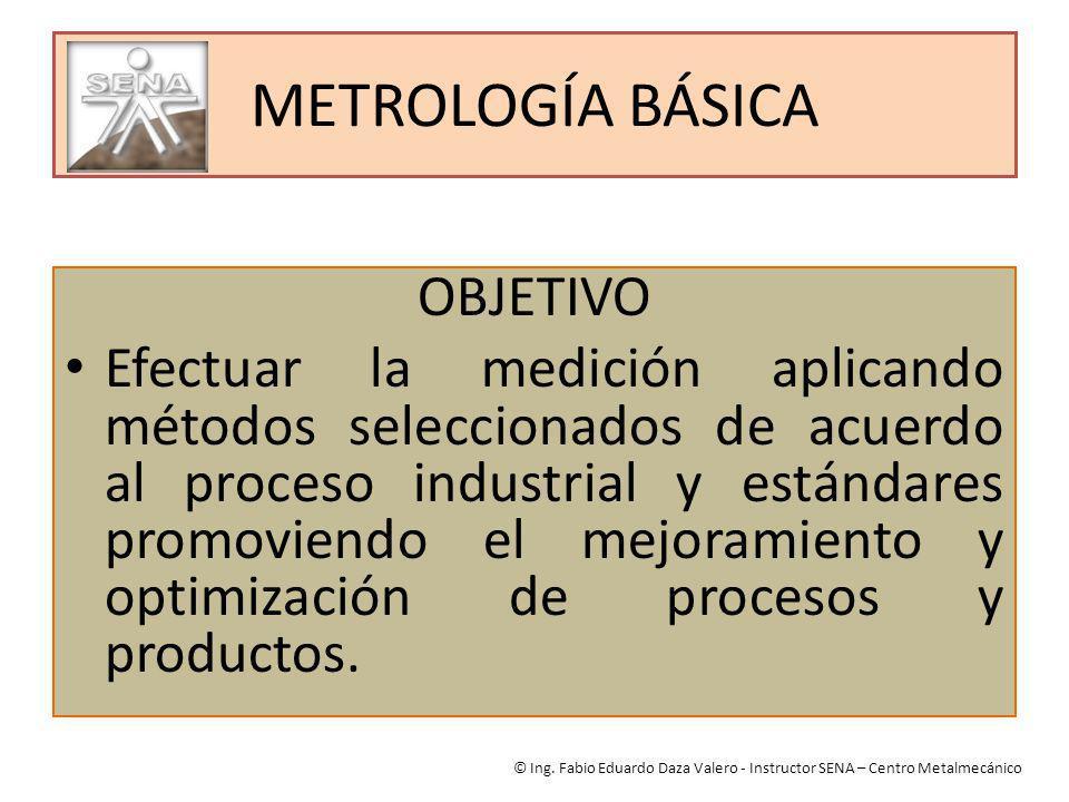 METROLOGÍA BÁSICA OBJETIVO Efectuar la medición aplicando métodos seleccionados de acuerdo al proceso industrial y estándares promoviendo el mejoramie