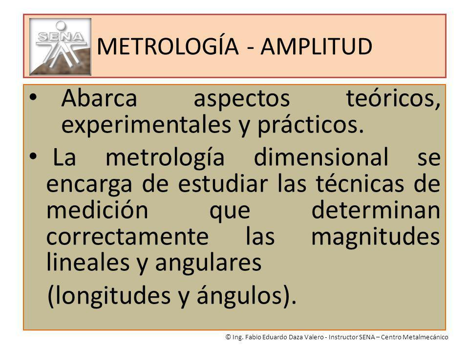 METROLOGÍA - AMPLITUD Abarca aspectos teóricos, experimentales y prácticos. La metrología dimensional se encarga de estudiar las técnicas de medición