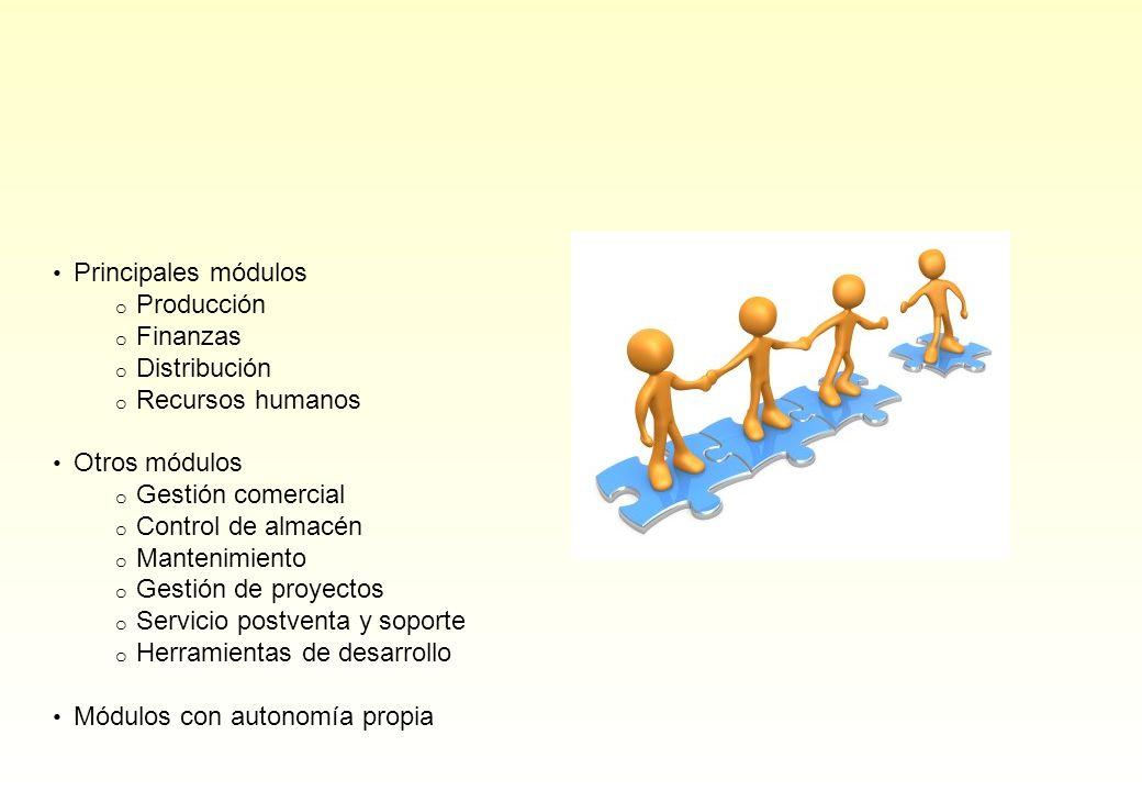Principales módulos o Producción o Finanzas o Distribución o Recursos humanos Otros módulos o Gestión comercial o Control de almacén o Mantenimiento o