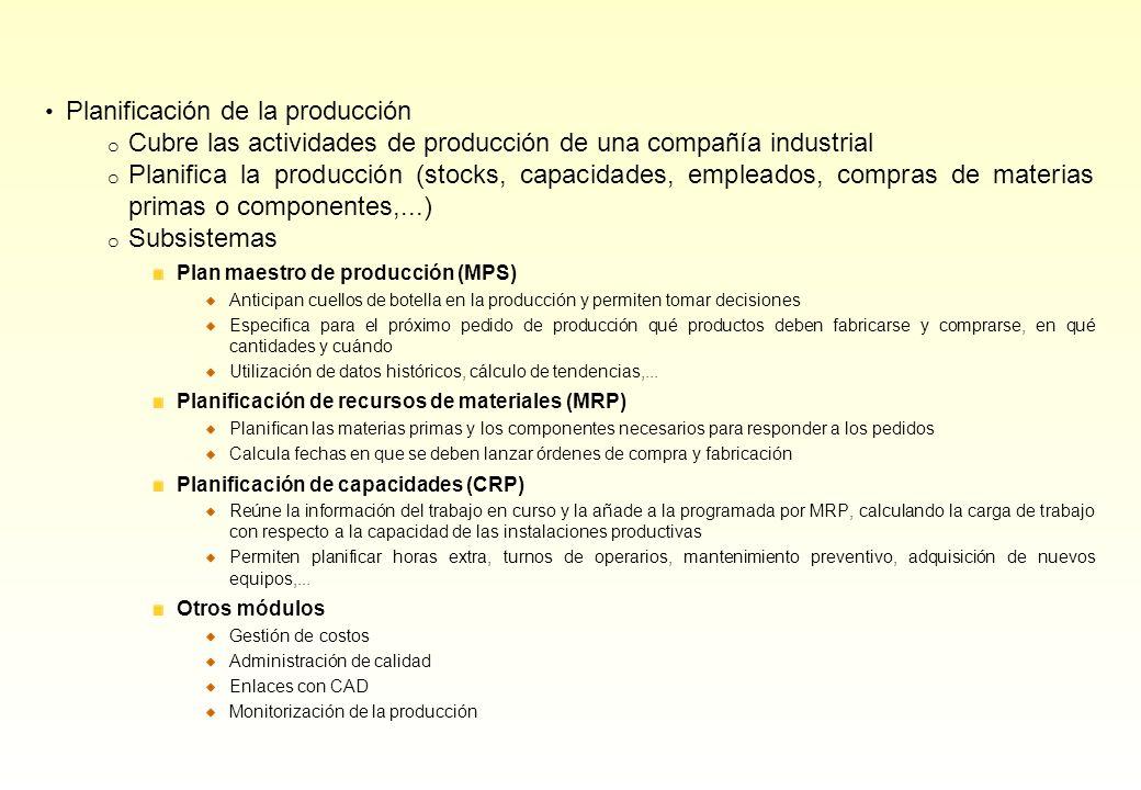 Planificación de la producción o Cubre las actividades de producción de una compañía industrial o Planifica la producción (stocks, capacidades, emplea