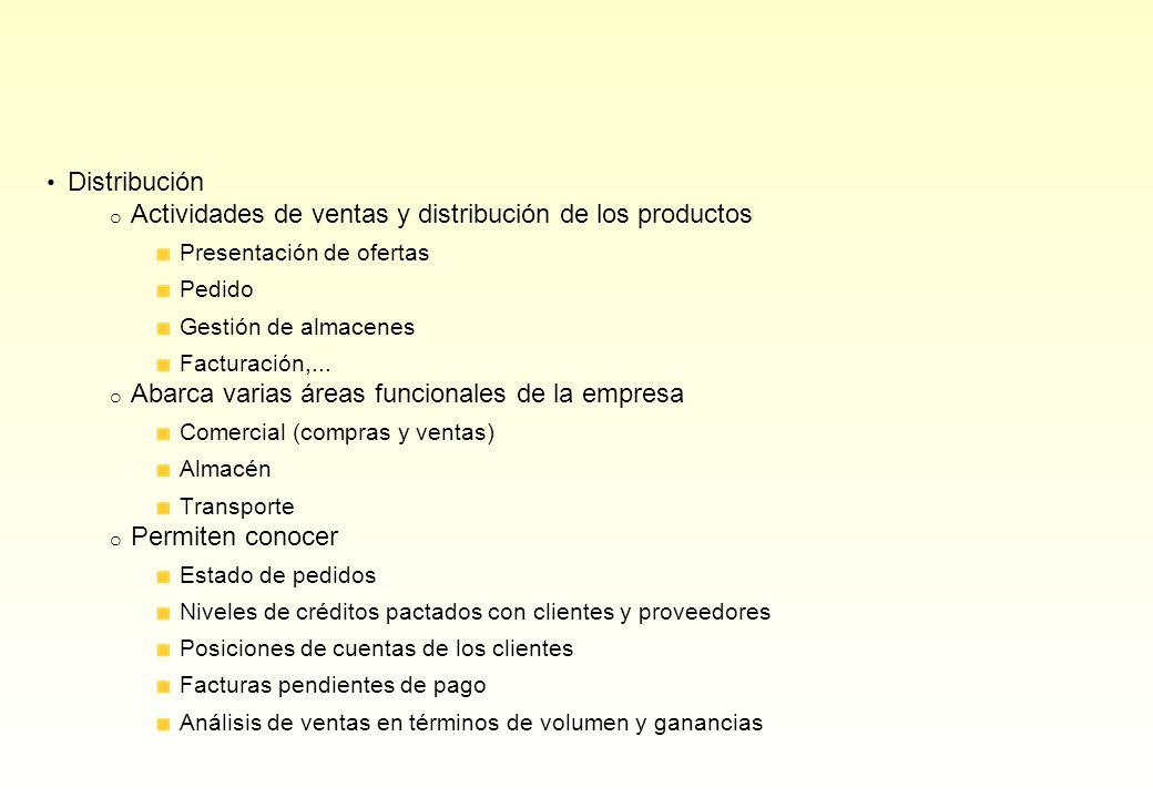 Distribución o Actividades de ventas y distribución de los productos Presentación de ofertas Pedido Gestión de almacenes Facturación,... o Abarca vari