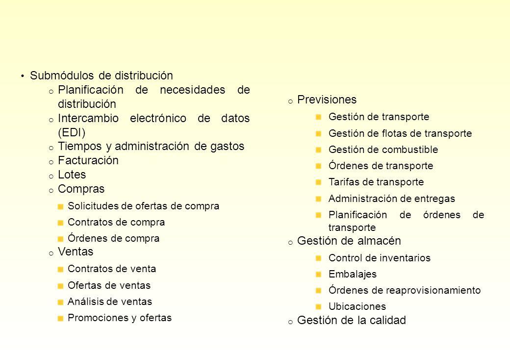 Submódulos de distribución o Planificación de necesidades de distribución o Intercambio electrónico de datos (EDI) o Tiempos y administración de gasto