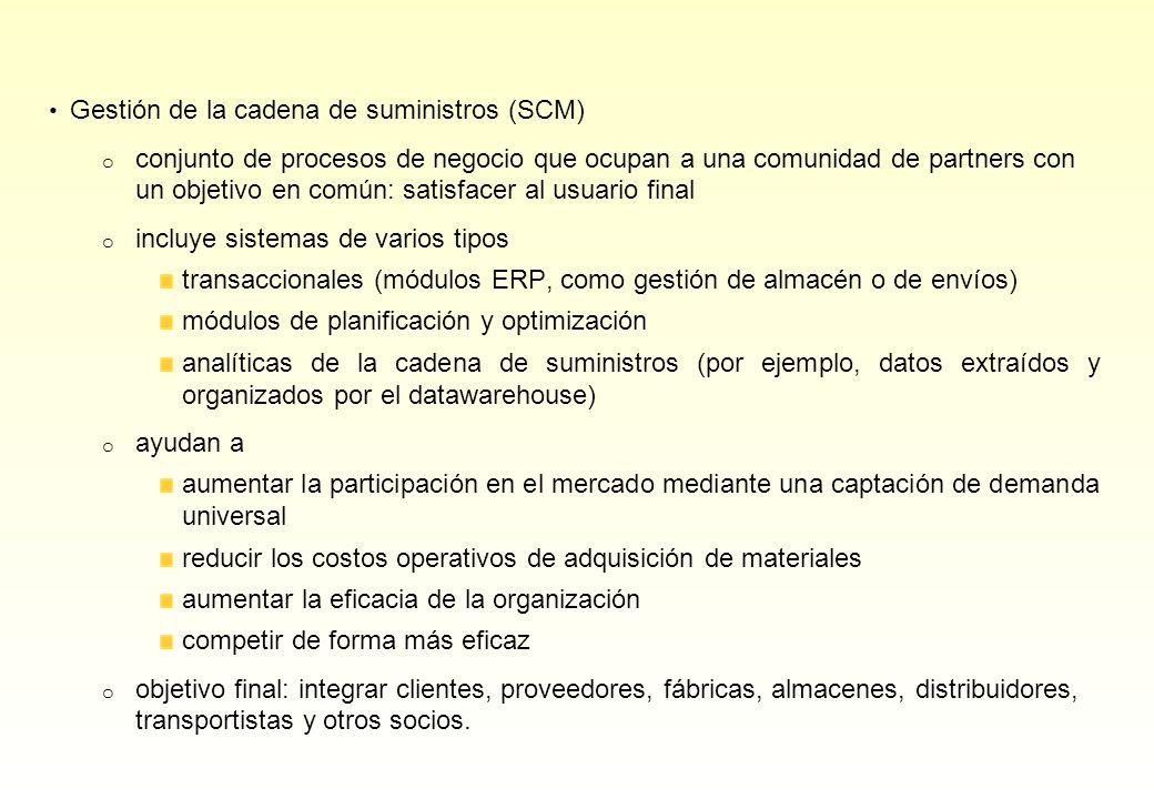 Gestión de la cadena de suministros (SCM) o conjunto de procesos de negocio que ocupan a una comunidad de partners con un objetivo en común: satisface