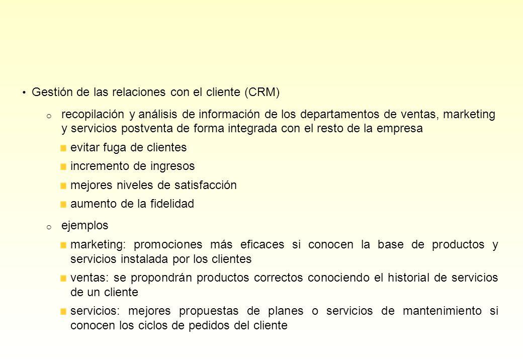 Gestión de las relaciones con el cliente (CRM) o recopilación y análisis de información de los departamentos de ventas, marketing y servicios postvent