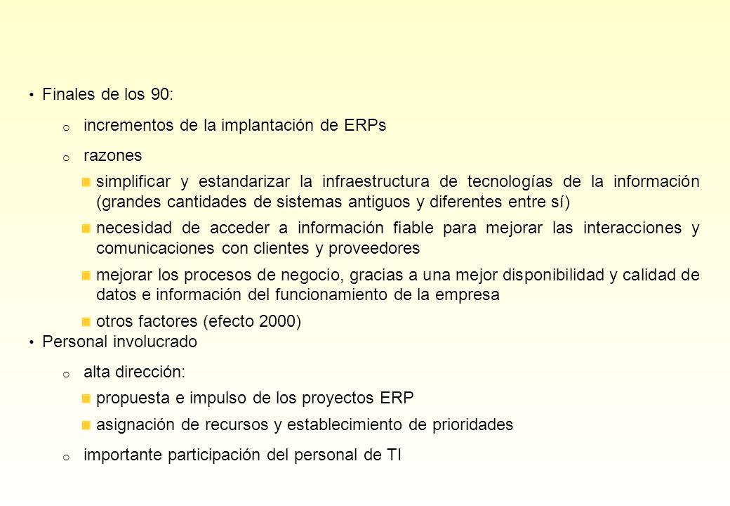 Finales de los 90: o incrementos de la implantación de ERPs o razones simplificar y estandarizar la infraestructura de tecnologías de la información (