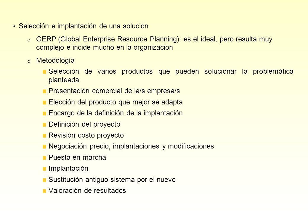 Selección e implantación de una solución o GERP (Global Enterprise Resource Planning): es el ideal, pero resulta muy complejo e incide mucho en la org