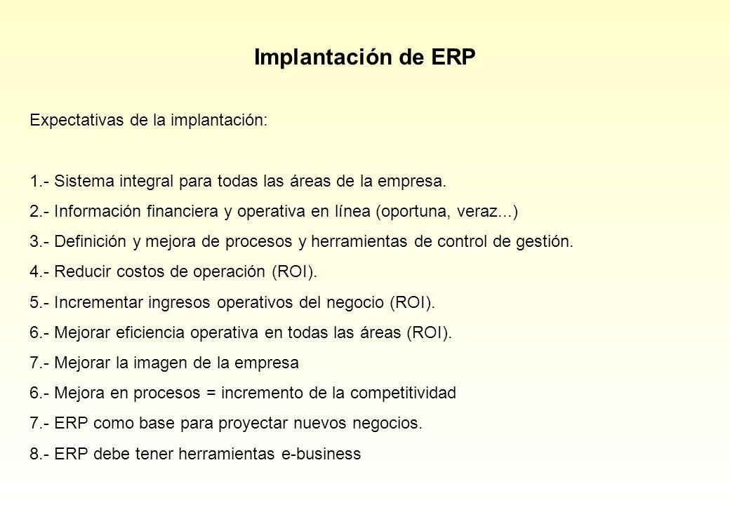 Expectativas de la implantación: 1.- Sistema integral para todas las áreas de la empresa. 2.- Información financiera y operativa en línea (oportuna, v