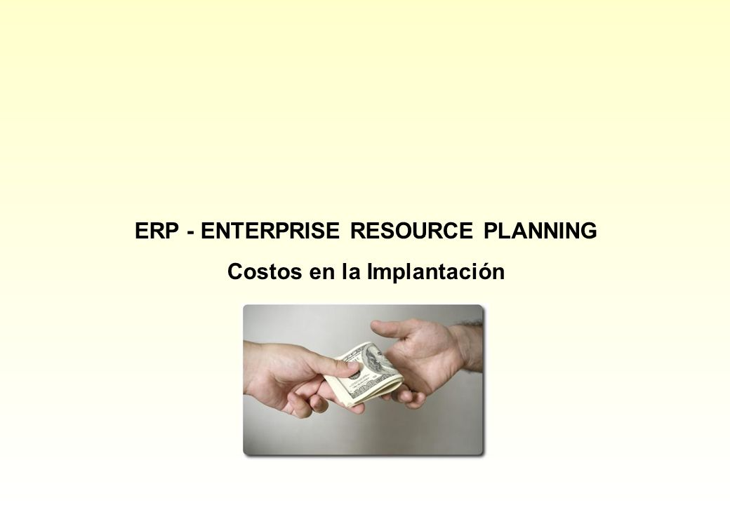 ERP - ENTERPRISE RESOURCE PLANNING Costos en la Implantación