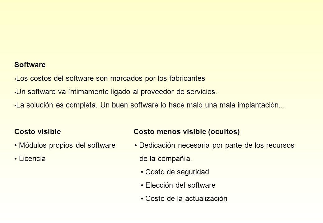 Software Los costos del software son marcados por los fabricantes Un software va íntimamente ligado al proveedor de servicios. La solución es completa