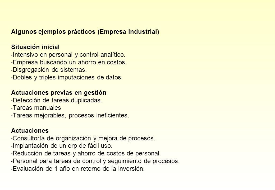 Algunos ejemplos prácticos (Empresa Industrial) Situación inicial Intensivo en personal y control analítico. Empresa buscando un ahorro en costos. Dis