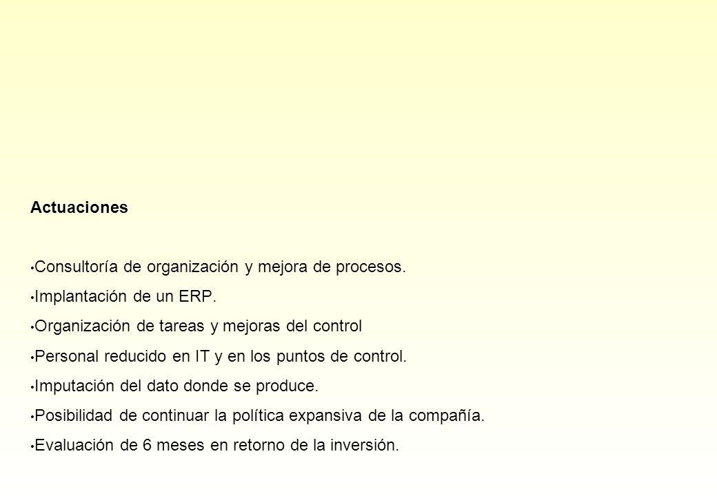 Actuaciones Consultoría de organización y mejora de procesos. Implantación de un ERP. Organización de tareas y mejoras del control Personal reducido e