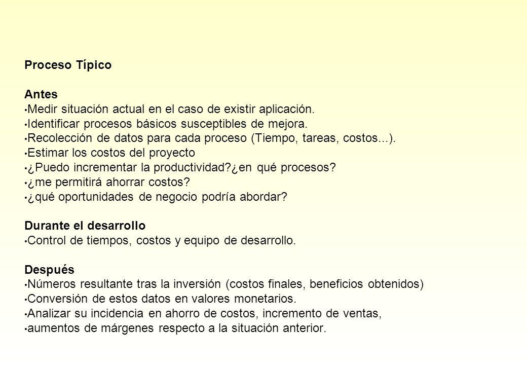 Proceso Típico Antes Medir situación actual en el caso de existir aplicación. Identificar procesos básicos susceptibles de mejora. Recolección de dato