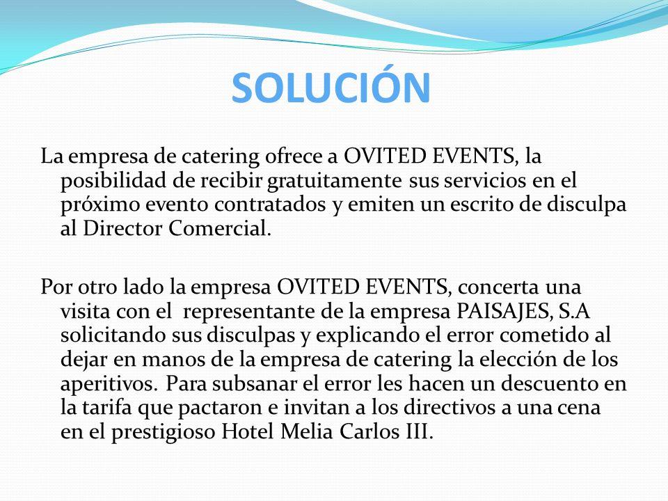 SOLUCIÓN La empresa de catering ofrece a OVITED EVENTS, la posibilidad de recibir gratuitamente sus servicios en el próximo evento contratados y emite