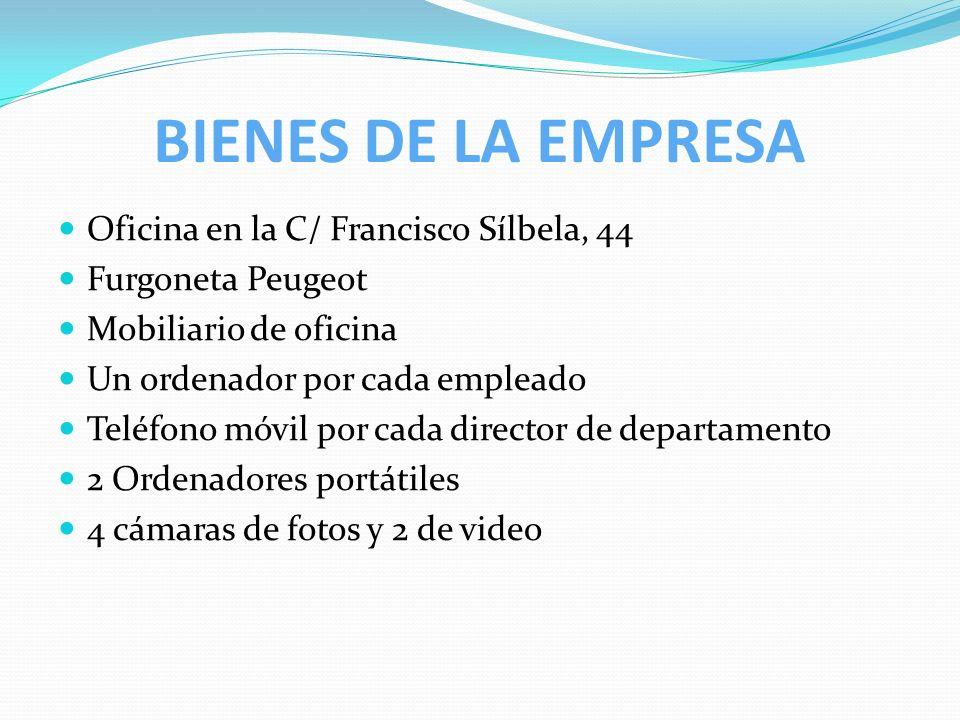 BIENES DE LA EMPRESA Oficina en la C/ Francisco Sílbela, 44 Furgoneta Peugeot Mobiliario de oficina Un ordenador por cada empleado Teléfono móvil por