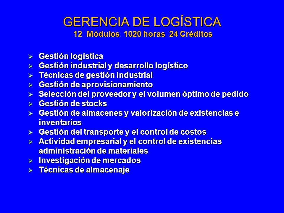 GERENCIA DE LOGÍSTICA 12 Módulos 1020 horas 24 Créditos Gestión logística Gestión logística Gestión industrial y desarrollo logístico Gestión industri
