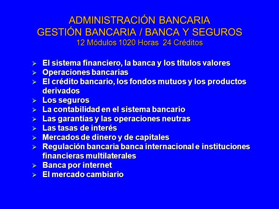 ADMINISTRACIÓN BANCARIA GESTIÓN BANCARIA / BANCA Y SEGUROS 12 Módulos 1020 Horas 24 Créditos El sistema financiero, la banca y los títulos valores El