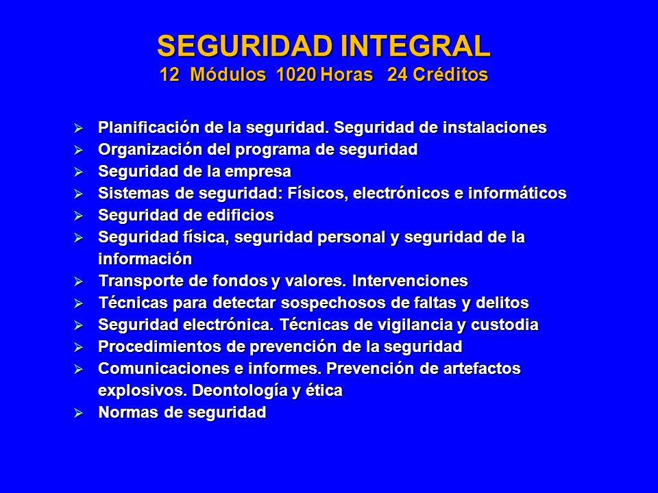 SEGURIDAD INTEGRAL 12 Módulos 1020 Horas 24 Créditos Planificación de la seguridad. Seguridad de instalaciones Planificación de la seguridad. Segurida