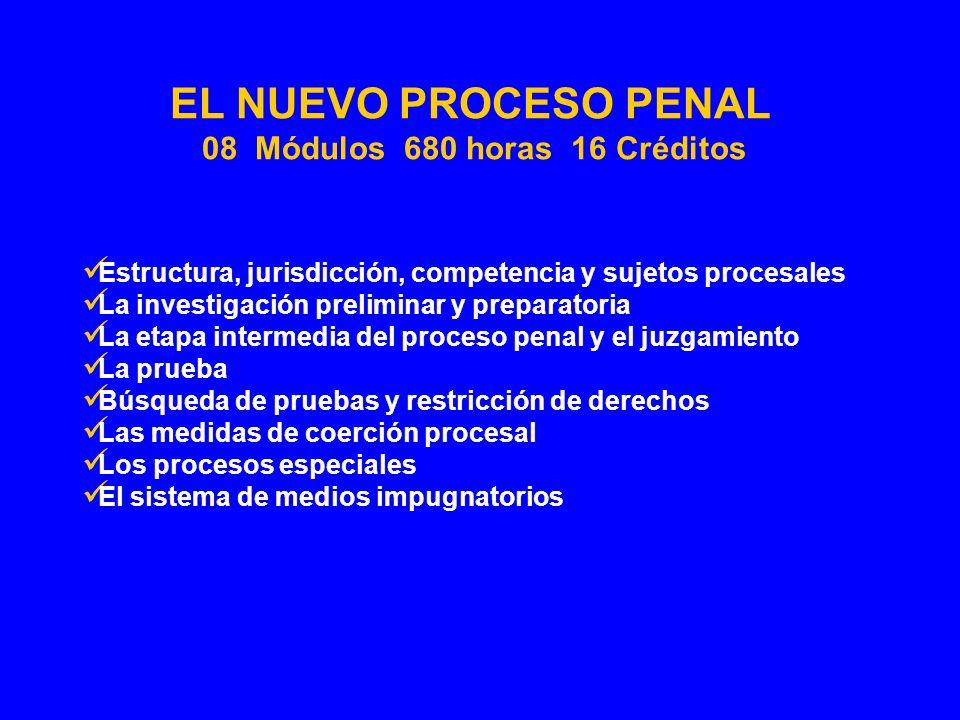 Estructura, jurisdicción, competencia y sujetos procesales La investigación preliminar y preparatoria La etapa intermedia del proceso penal y el juzga