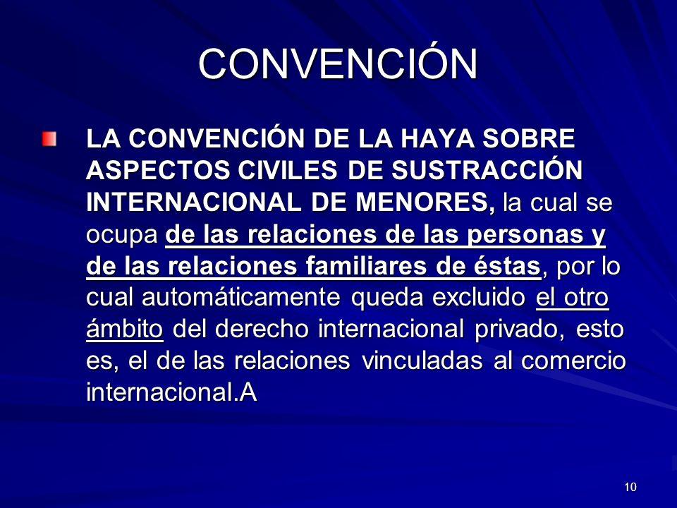 10 CONVENCIÓN LA CONVENCIÓN DE LA HAYA SOBRE ASPECTOS CIVILES DE SUSTRACCIÓN INTERNACIONAL DE MENORES, la cual se ocupa de las relaciones de las perso