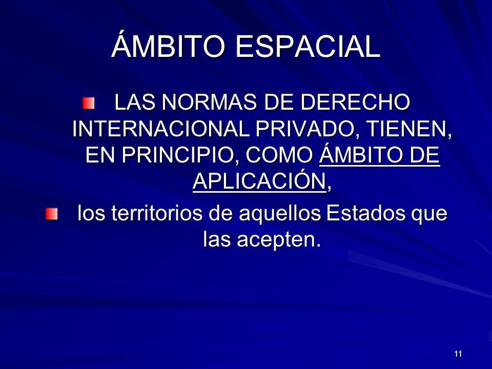 11 ÁMBITO ESPACIAL LAS NORMAS DE DERECHO INTERNACIONAL PRIVADO, TIENEN, EN PRINCIPIO, COMO ÁMBITO DE APLICACIÓN, los territorios de aquellos Estados q