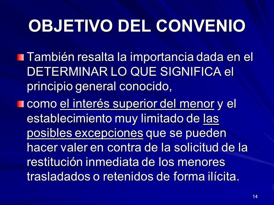 OBJETIVO DEL CONVENIO También resalta la importancia dada en el DETERMINAR LO QUE SIGNIFICA el principio general conocido, como el interés superior de