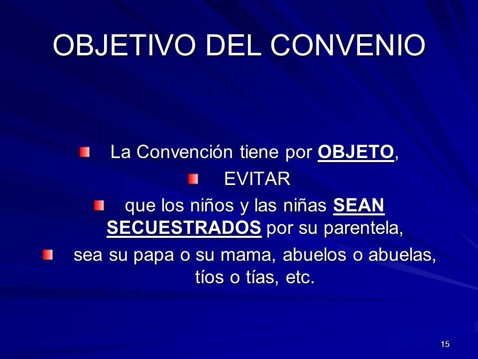 15 OBJETIVO DEL CONVENIO La Convención tiene por OBJETO, EVITAR EVITAR que los niños y las niñas SEAN SECUESTRADOS por su parentela, sea su papa o su