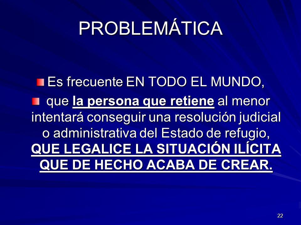 22 PROBLEMÁTICA Es frecuente EN TODO EL MUNDO, que la persona que retiene al menor intentará conseguir una resolución judicial o administrativa del Es