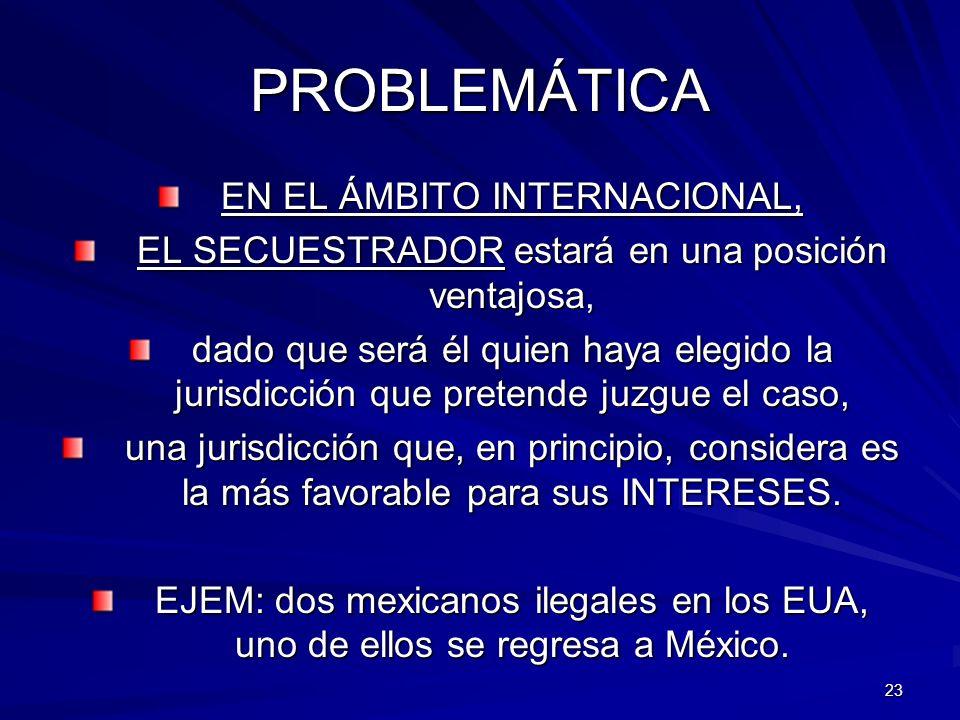 23 PROBLEMÁTICA EN EL ÁMBITO INTERNACIONAL, EL SECUESTRADOR estará en una posición ventajosa, dado que será él quien haya elegido la jurisdicción que