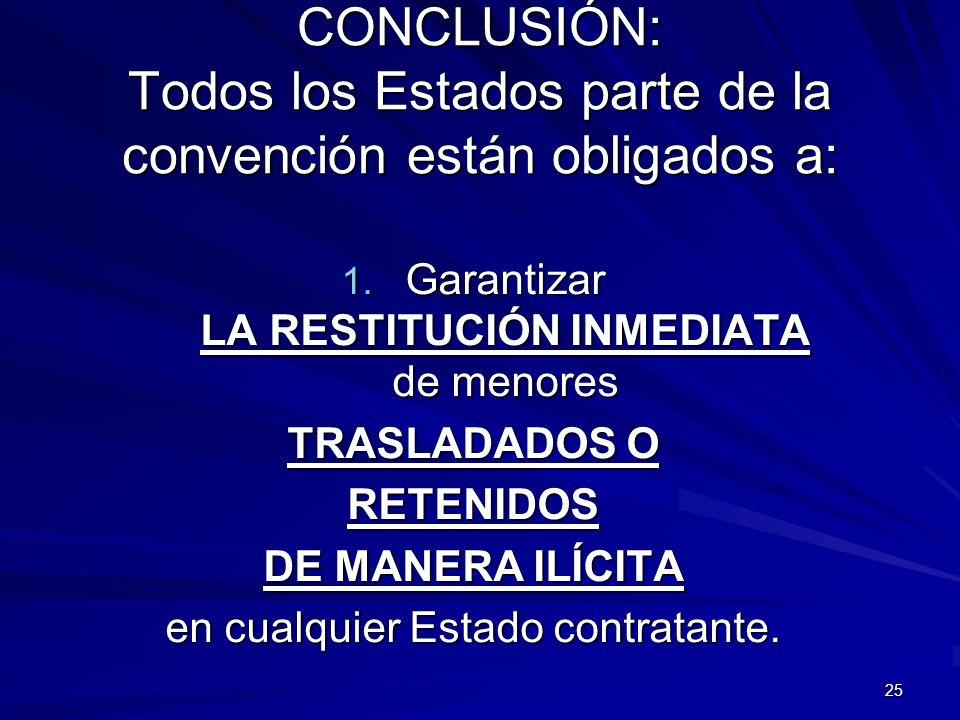 25 CONCLUSIÓN: Todos los Estados parte de la convención están obligados a: 1. Garantizar LA RESTITUCIÓN INMEDIATA de menores TRASLADADOS O RETENIDOS D