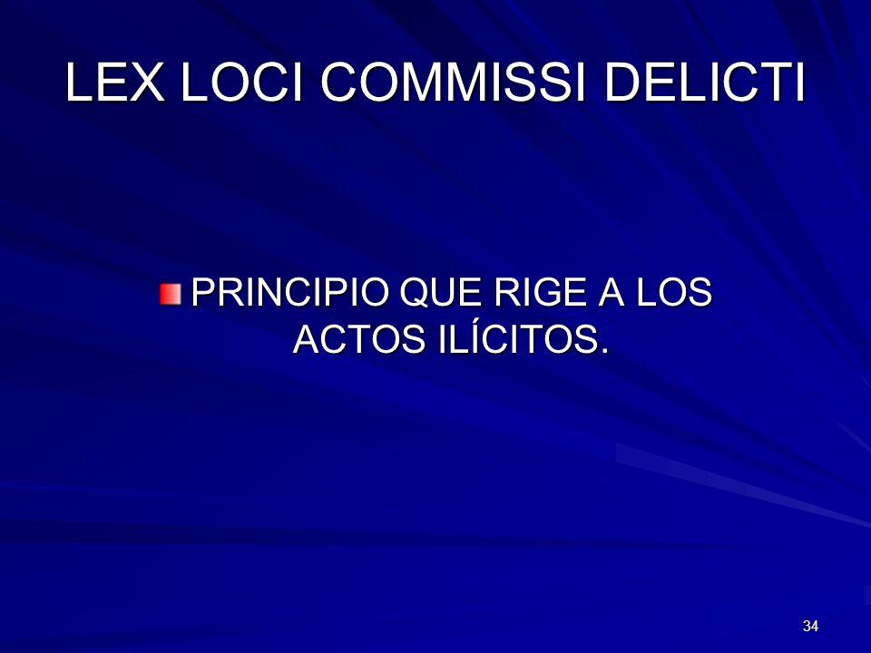 34 LEX LOCI COMMISSI DELICTI PRINCIPIO QUE RIGE A LOS ACTOS ILÍCITOS.