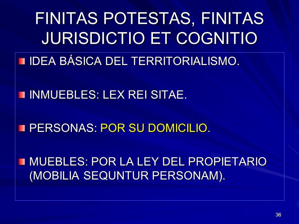 36 FINITAS POTESTAS, FINITAS JURISDICTIO ET COGNITIO IDEA BÁSICA DEL TERRITORIALISMO. INMUEBLES: LEX REI SITAE. PERSONAS: POR SU DOMICILIO. MUEBLES: P