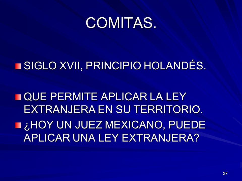 37 COMITAS. SIGLO XVII, PRINCIPIO HOLANDÉS. QUE PERMITE APLICAR LA LEY EXTRANJERA EN SU TERRITORIO. ¿HOY UN JUEZ MEXICANO, PUEDE APLICAR UNA LEY EXTRA
